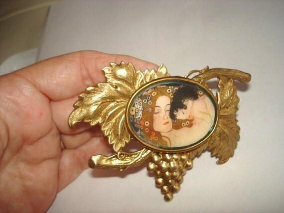 Mother and Child  Vintage Jewelry Grape Vine Brooch KL Design