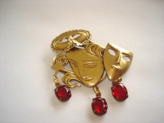 Vintage Jewelry 3 Faces  Brooch Glass Stones Gold Tone