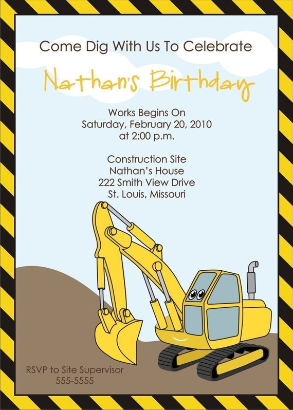 Construction Birthday Party Invites with good invitations ideas