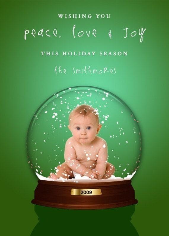 Similar to custom holiday photo card snow globe christmas card on etsy