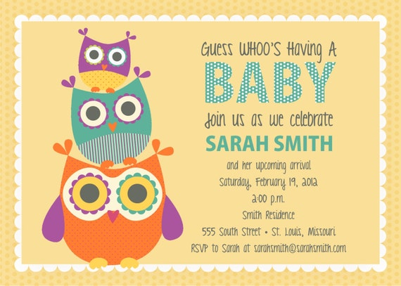 Owl Baby Shower Invite - Look WHOO'S Having A Baby