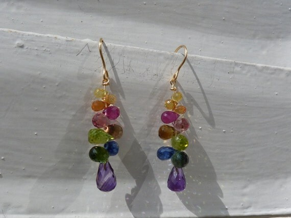 18 k yellow gold earrings with,rubys,sapphires,tourmalines,amethysts,kyanites,apatites,peridots