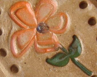 Flower Ceramic Ornament or Basket Start for Coiling Orange Green Burgundy