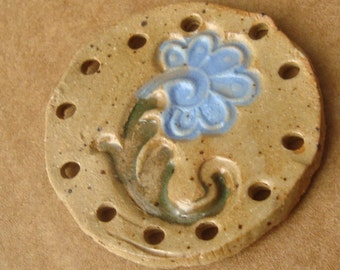 Blue Flower  Ceramic Ornament or Basket Start for Coiling