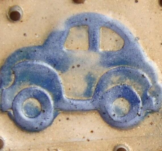 SALE Blue VW Bug Beetle Car Pottery Base for Basketry