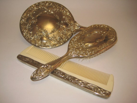 Vintage Silver Vanity Set With Mirror Comb And Brush