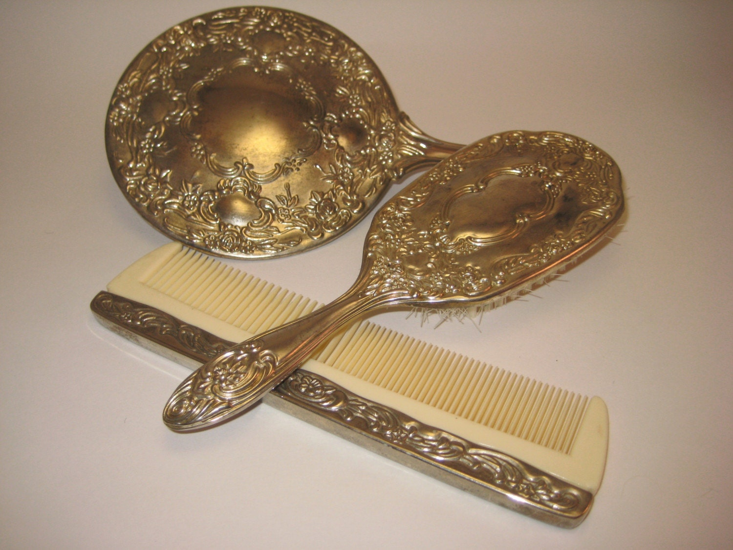 Vintage Silver Vanity Set With Mirror Comb And By