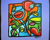 Tori - Pop Art Wine, Tulips and Olive Oil Painting 8x8 Original