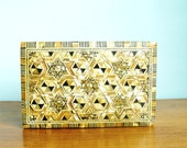 Vintage Wood  Box Egyptian Marquetry Bone and Mother of Pearl