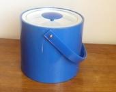Georges Briard Vinyl Ice Bucket Bright Blue Mod Bar Ware