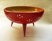 Woodpecker  WoodWare Red Bowl with Legs and Polkadots