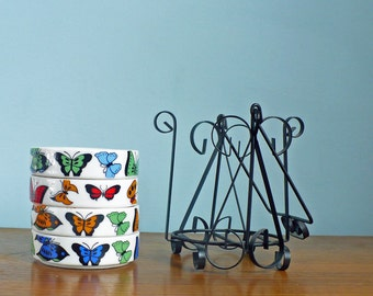 Mod Stacking Ashtray Set With Multicolored Butterflies With Carrier