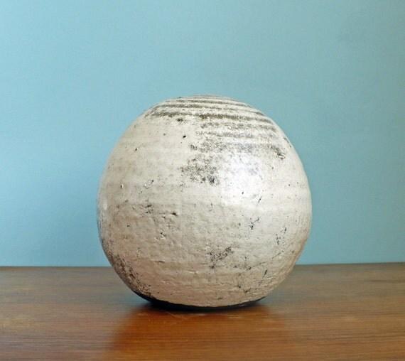 Mid Century Modern Art Pottery Round Vase Sperhical Off White Grey Signed