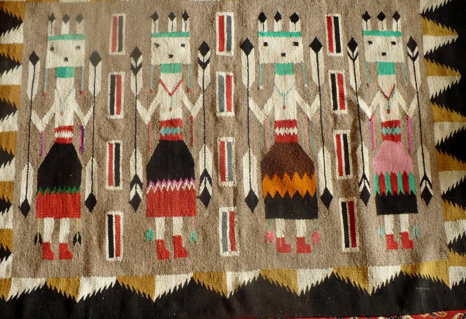 Vintage Navajo Rug Weaving Wall Hanging Yei Dancers By