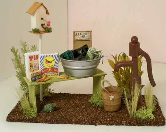 Dollhouse miniature laundry tub with pump