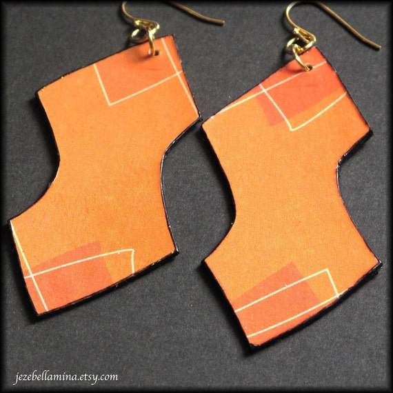 Tangerine Orange Fall Earrings, Autumn Leaves made from recycled paper by Jezebellamina on Etsy