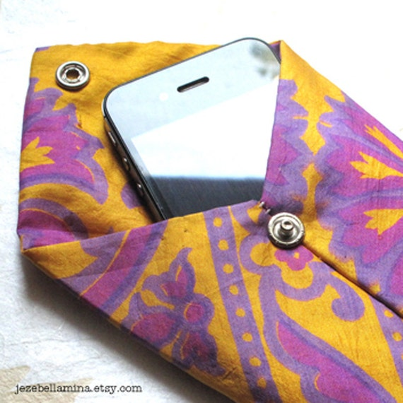 Upcycled Retro Necktie iPhone or iPod Pouch with faux pearl snap closure, gold and purple handpainted silk, OOAK