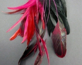 Show Time - 38Coque Saddle, and Shredded Feathers, in Fuschia.