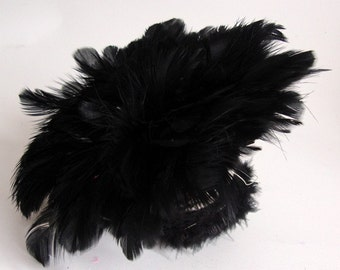 50 Tiny Goose Feathers Fringe / Black /