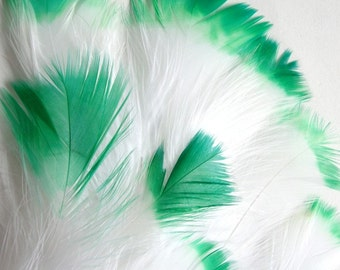 30-40 PCS / MARABOU FLUFF / Green Tipped / 4-6 inches tall.