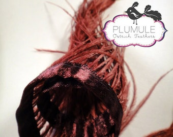 4 inches strip / Maroon / Ostrich Fringe / Dyed on White / 5-6 inches tall / No. 006