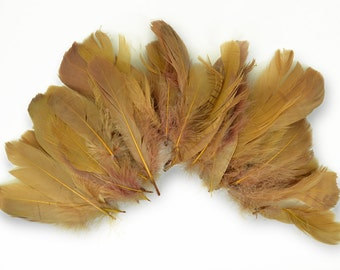 60-80pcs Goose Satinettes loose feathers, 6 grams, BROWN