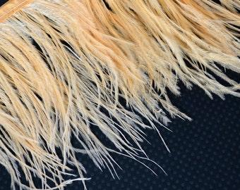 4 Inch Strip / Peach / Ostrich Fringe Trim feather / Wedding, costume design...