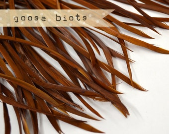 20 pcs - Goose Biots Feathers, coffee, Loose, can be curled, ironed, no. 010