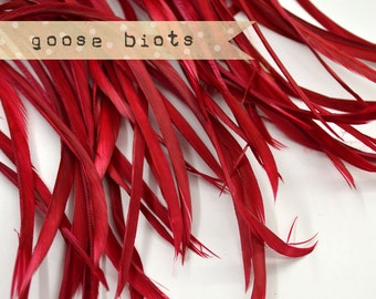 20 pcs - Goose Biots Feathers, Deep Red, Loose, can be curled, ironed, no. 015