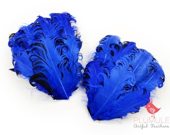 1 pcs - CURLED NAGORIE goose feather pad, navy on black