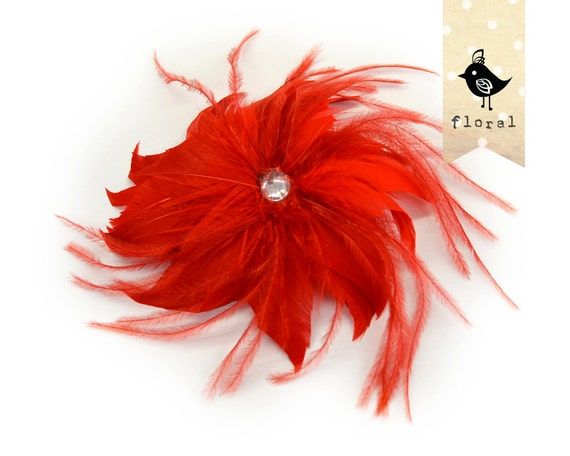 FEATHER FLOWER - Red - Feather Fascinator with a crystal heart, goose, ostrich thrills, metal finding at the back, clip and brooch