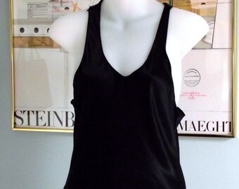 Satin Nightgown Racer back,   black  small