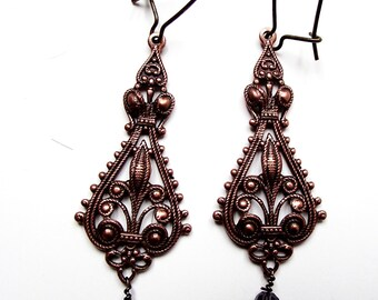 Hand made Earring, Intricate Copper filigree