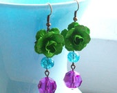 Bright Green Flower Dangle Earrings with Turquoise and Purple. Flower Earrings. Bridal Jewelry. Statement Jewelry