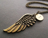 Angel Wing Love Necklace. Inspirational. Symbolic. Charm Necklace. Vintage Insprired Necklace