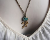 Leaf Branch Necklace in Golden Brass with Verdigris Patina Finish Love Bird Charm. Nature Inspired. Sparrow. Vintage Inspired