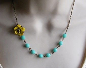 Yellow and Turquoise Necklace. Turquoise Necklace. Statement Necklace. Flower Necklace. Bridesmaid Jewelry. Yellow Necklace.