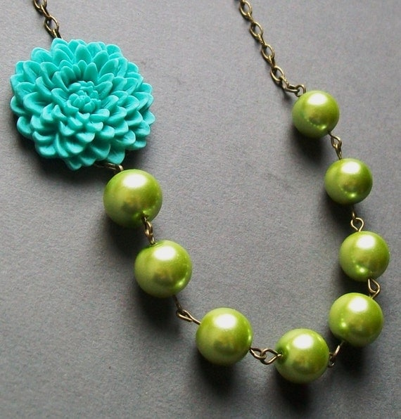 Bright Turquoise Flower Beaded Neckace with Lime Green Pearls. Bridal Jewelry. Chunky. Colorful