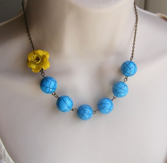 Sunny Yellow Flower Beaded Statement Necklace. Turquoise Necklace. Statement Jewelry. Yellow and Turquoise Necklace.