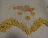 vintage embroidered crochet tea towel
