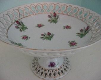 vintage shabby floral bowl compote pink roses