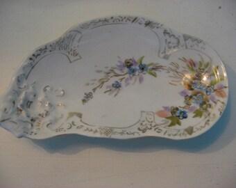 vintage kidney shaped porcelain floral hand painted dish