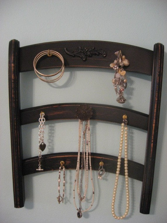 repurposed vintage chair jewelry holder