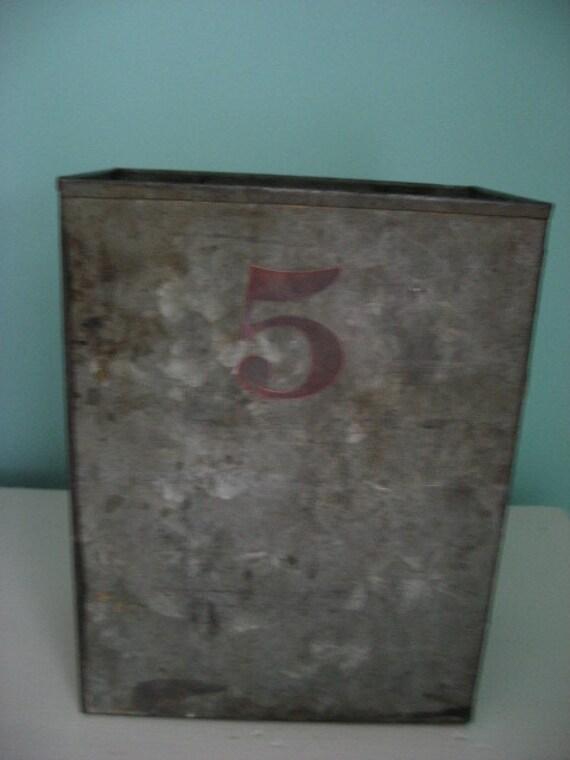 vintage industrial metal galvanzed storage box