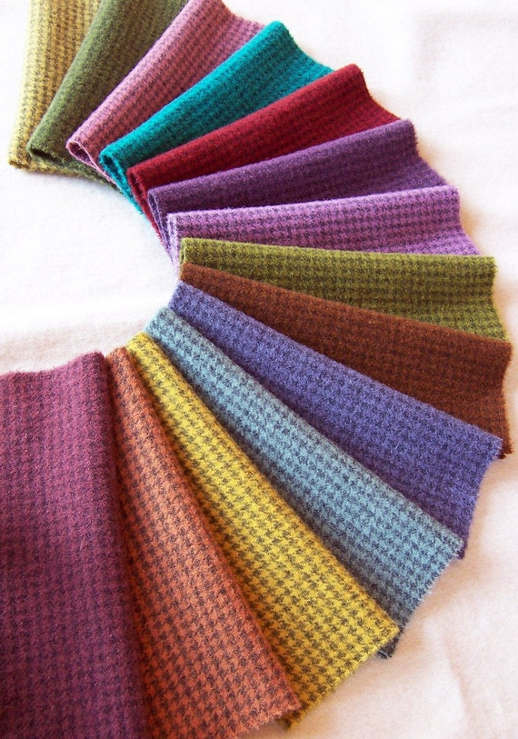 Hand Dyed and Felted  Houndstooth Wool Fabric / W301