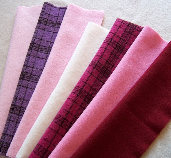 Hand Dyed Felted Wool Fabric for Rug Hooking, Applique, Penny Rugs and Sewing Projects/ H133