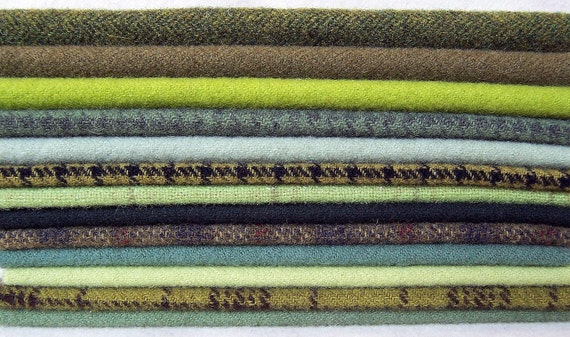 Hand Dyed Felted Wool, 8in.x 8in. - Green Shades - for Applique, Penny Rugs, Sewing Projects W1050
