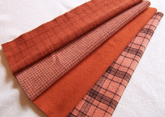 Hand Dyed Felted Wool Fabric- Orange Shades - for Rug Hooking, Applique, Penny Rugs and Sewing Projects/ H179