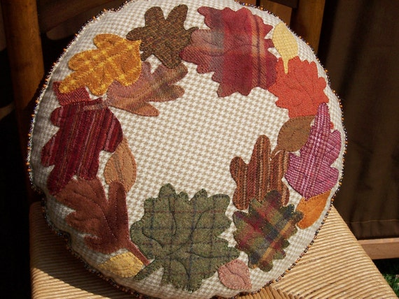 Autumn's Glory Wool Pillow - Brilliant Fall Leaves