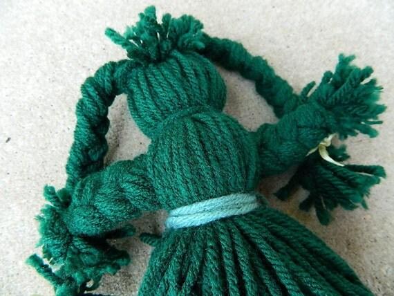 Green Spirit  Doll / Yarn Poppet / Ju Ju Baby